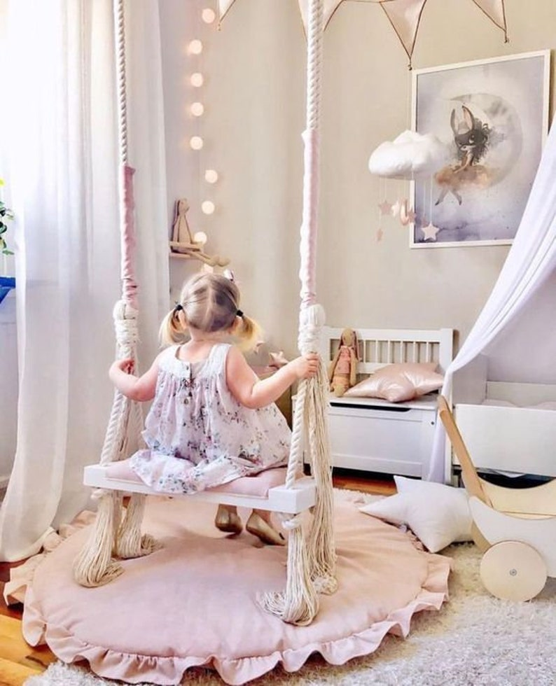 Wooden Indoor Outdoor Kids and Adults Vintage Swing  Classic image 0