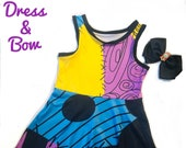 Sally dress and Bow The Nightmare Before Christmas inspired dress FREE SHIPPING