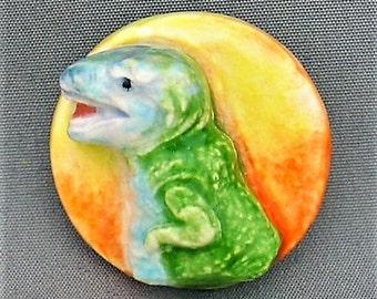 T-Rex Dinosaur Handmade Porcelain Button
