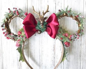 Traditional Christmas Wreath Reindeer Minnie Ears with Fairy Lights | Christmas Wreath | Christmas Minnie Ears | Christmas Disney Ears