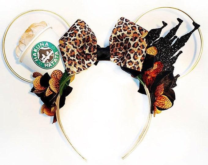 Hakuna Matata Coffee Minnie Ears | Lion King Caffeine and Castles Minnie Ears | Coffee Lover Minnie Ears | Coffee Lover Gift
