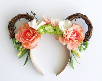 Flower Garden Minnie Ears, Peach Flower Boho Headband/ Grapevine Wreath Minnie Ears