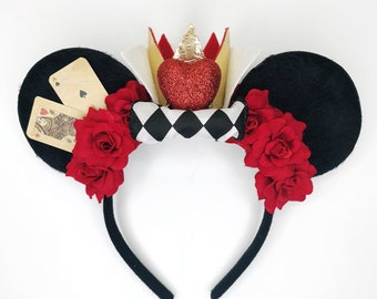 Queen of Hearts Minnie Ears, Alice in Wonderland Headband, off with their heads, red roses headband