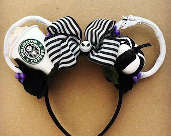 Nightmare before Christmas ears | Jack Skellington Ears | Halloween Minnie Ears | Coffee lover Gift