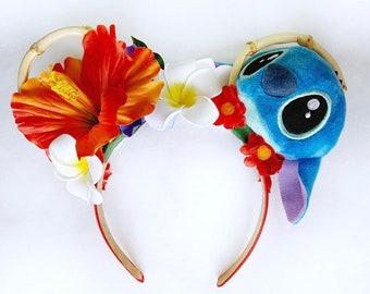 Stitch Ohana Minnie Ears | Polynesian Minnie Ears | Lilo And Stitch Minnie Ears
