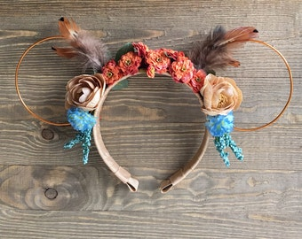 Pocahontas Wire Minnie Ears, floral feather Indian Headband, feather headband