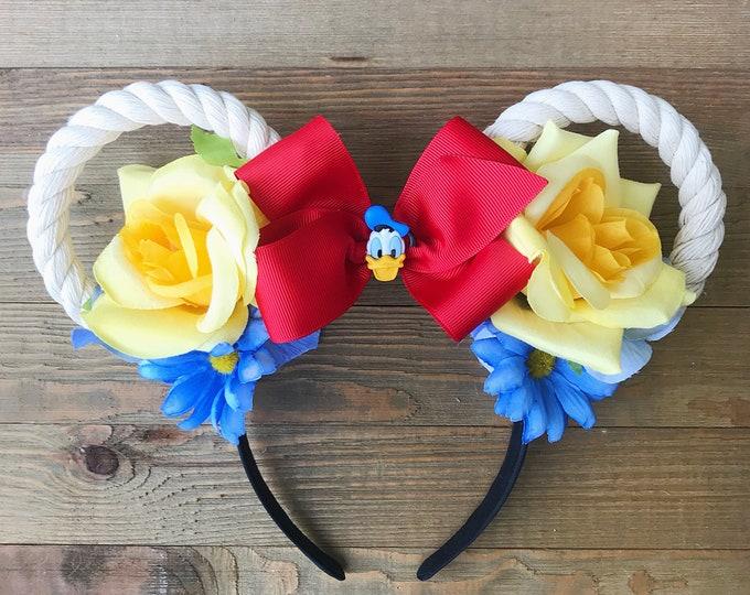 Donald Duck Cruise Mickey Ears/ Donald Duck Minnie Ears Headband/ Nautical Headband/ Cruise Lover/ Cruise Donald Duck Ears