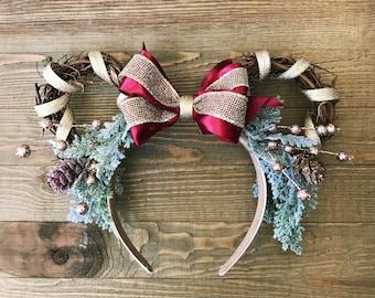 Christmas Minnie Ears, burgundy Christmas Minnie Ears, Christmas Wreath Minnie Headband