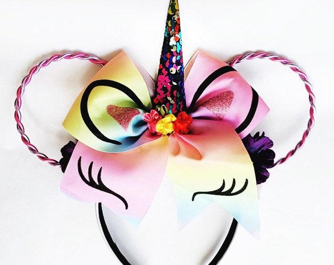 Unicorn Minnie Ears   Unicorn Lover Gift   Unicorn Headband