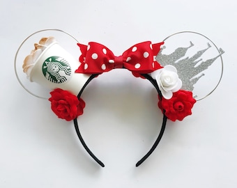 Caffeine and Castle Minnie Ears | Coffee Lover Gift | Disney Lover Gift | Starbucks Mickey Ears | Starbucks Disney Ears | Starbucks Minnie