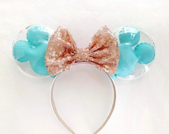 Pale Blue and Rose Gold Balloon Ears | Rosegold Bow Minnie Ears | Rose Gold Bow Minnie Ears | Mickey Balloon Ears | Balloon Minnie Ears