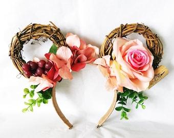 Food and Wine Minnie Ears | Grapevine Wreath Minnie Ears | Wine Cork Headband