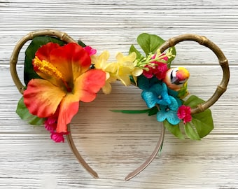 Enchanted Tiki Ears/ Polynesian Minnie Ears/ Orange Tropical Headband/ Disney Ears