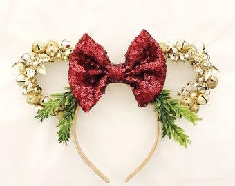 Christmas Minnie Ears | Jingle Bell Headband | Gold Bells Christmas Minnie Ears | Gold and Burgundy Headband | Disney Lover Gift