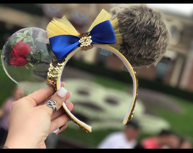 Featured listing image: Beauty and the Beast, Beauty Beast Minnie ears , Belle Minnie Ears, Beauty and the Beast Ears, belle minnie Headband