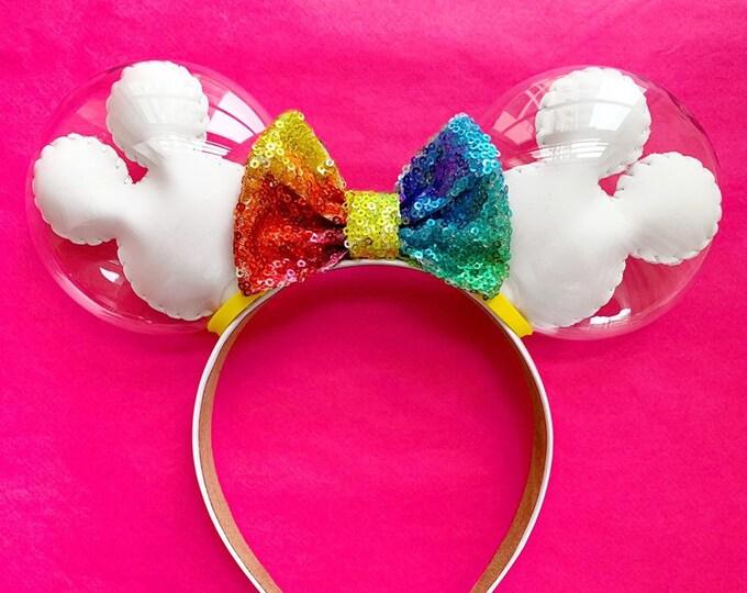 Rainbow Mickey Balloon Ears | Balloon Minnie Ears | Minnie Ears | Disney Ears | Disney Lover Gift