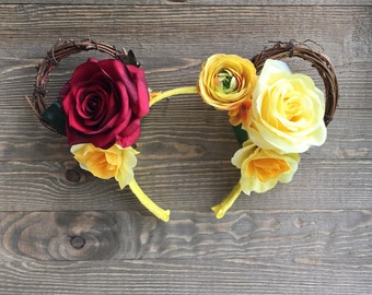Princess Belle Minnie Ears/ Beauty and The Beast/ Grapevine Wreath Headband/ Enchanted Rose