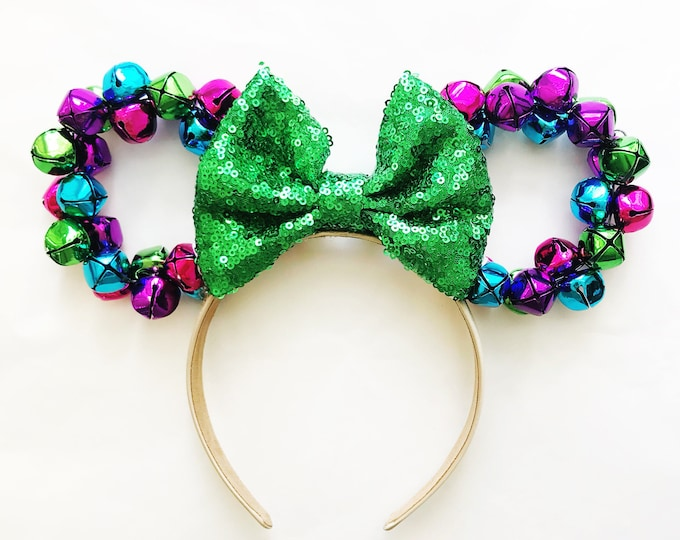 Christmas Minnie Ears | Jingle Bell Christmas Wreath | Christmas Wreath Minnie Ears | Colorful Christmas Minnie Ears