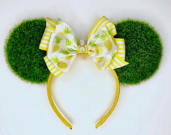 Dole Whip Minnie Ears | Hubgrass and Chill Dole Whip Minnie Ears | Hubgrass Minnie Ears | Yellow bow Minnie Ears | Pineapple Minnie Ears