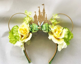 Tinkerbell Minnie Ears | Cinderella Castle Tinkerbell Minnie Ears | Tinkerbell Fairy Lights Minnie Ears