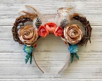 Pocahontas Minnie Ears | Pocahontas Feather Minnie Ears | Pocahontas Floral Feather Headband