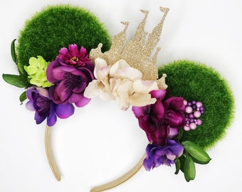 Hubgrass and all the Cinderella Vibes Minnie Ears/ Hubgrass and Chill Minnie Ears/ Champagne Glitter Castle/ Violet Purple Floral Minnie Ear