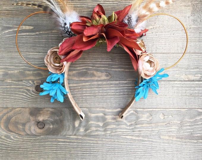 Pocahontas Minnie Ears   Large Flower Pocahontas Ears   Indian Headpiece Headband