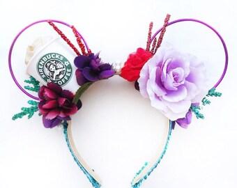 Ariel Coffee Minnie Ears | Mermaid Minnie Ears | Princess Ariel Mouse Ears | Minnie mickey ears | coffee lover gift