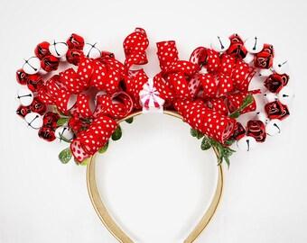 Jingle Bell Minnie Ears | Christmas Minnie Ears | Candy Cane Christmas Minnie Ears | Christmas Gift | Disney Lover Gift