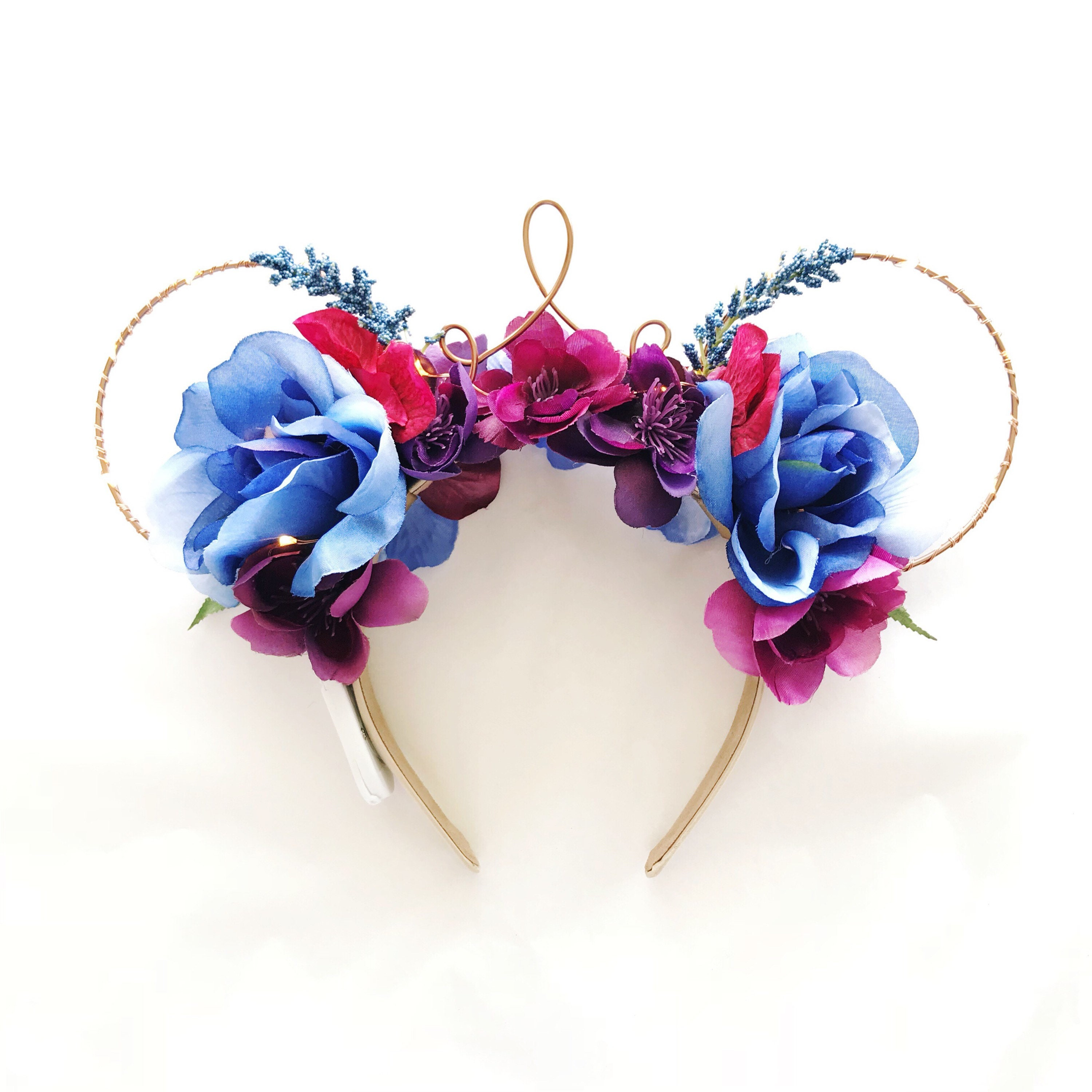 Blue And Purple Flower Crown Minnie Ears Disney Ears With Etsy