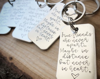 Friendship Keychain Long Distance Gift for Best Friend Best Friend Gifts True Friends BFF Graduation Gift Hand st&ed engraved & Graduation gift for best friend | Etsy