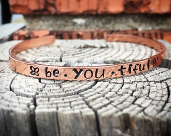 Inspirational Cuff Bracelet - be yourself, be you, inspirational jewelry, hand stamped, inspirational cuff, message bracelet, quote