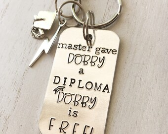 Hand Stamped Keychain - Graduation Gift, Potter Gift, Dobby, Accio, Alohomora, personalised keychain, Harry, Hand Stamped, Potter Keychain