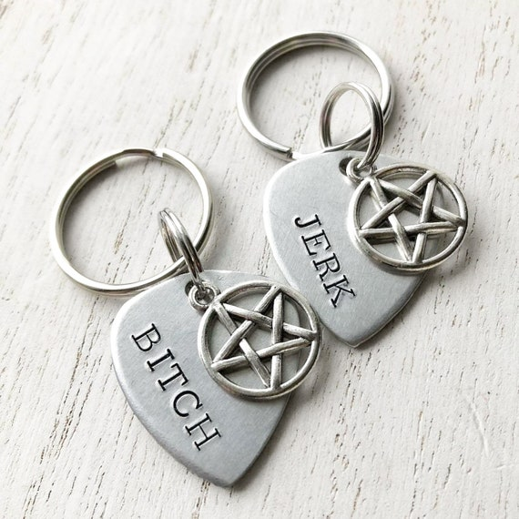 best friend jerk and bitch or idjit and assbutt pentagram necklaces stainless steel chain