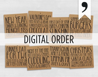 A Year of Wine | DIGITAL | Set of 4, 6, 8, 12 or 16 | Annual Wine Gift Basket | Kraft Paper Wine Tags