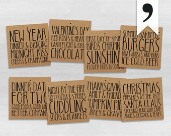 A Year of Wine | PRINTED | Set of 4, 6, 8, 12 or 16 | Annual Wine Gift Basket | Kraft Paper Wine Tags