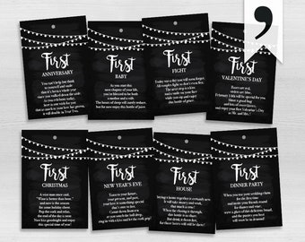 Newlyweds | A Year of Firsts | PRINTED | Set of 4, 6, 8, 12 or 16 | Wine Gift Basket | Bridal Shower Wine Tags | Milestones Wine Tags