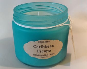"Natural Soy Scented Candle in ""Sea Glass"" Treated Jar, Caribbean Escape, 8 ounce"