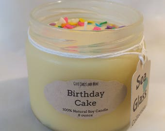 "Natural Soy Scented Candle in ""Sea Glass"" Treated Jar, Birthday Cake, 8 ounce"