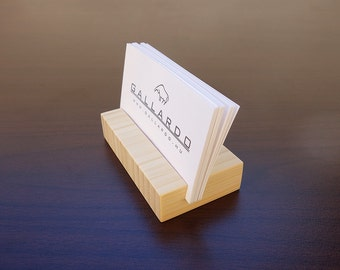 Business card stand etsy wood business card holder natural bamboobusiness card stand wood card holder office card display personalized card holder colourmoves