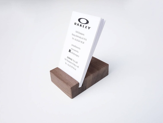 Wood standing business card holder wooden card holder wood etsy colourmoves