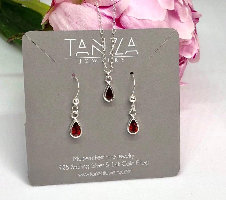 tearshaped dainty necklace and drop earrings Genuine Garnet in 925 Sterling Silver drop charm