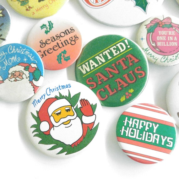 HAPPY HOLIDAYS LOT of 5 BUTTONS pins badge XMAS 2 1//4/""