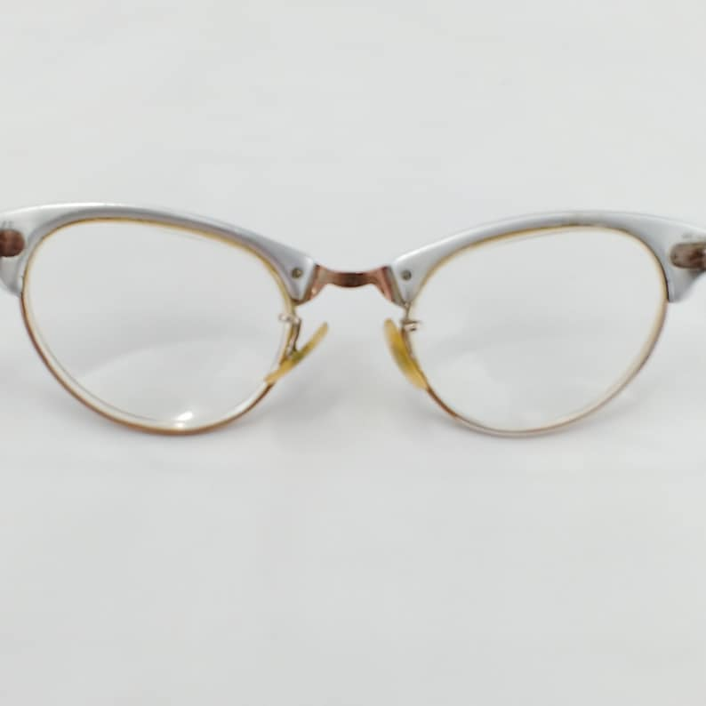 Art Craft Alum Cat Eyeglass Frames 20mm Vtg 50s 40-20-140 Copper Rhinestone