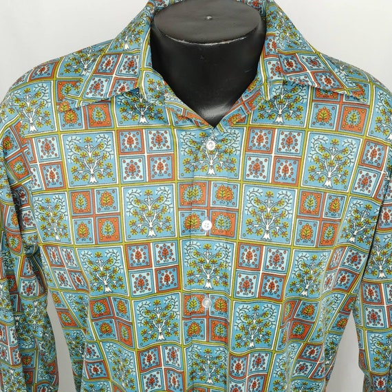 Vtg 70s Slinky Disco Shirt Medium Blue Green Rust