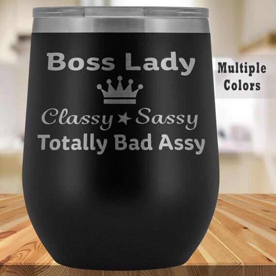 Boss Lady Tumbler Wine Glass  Girl Boss Gift  Inspirational