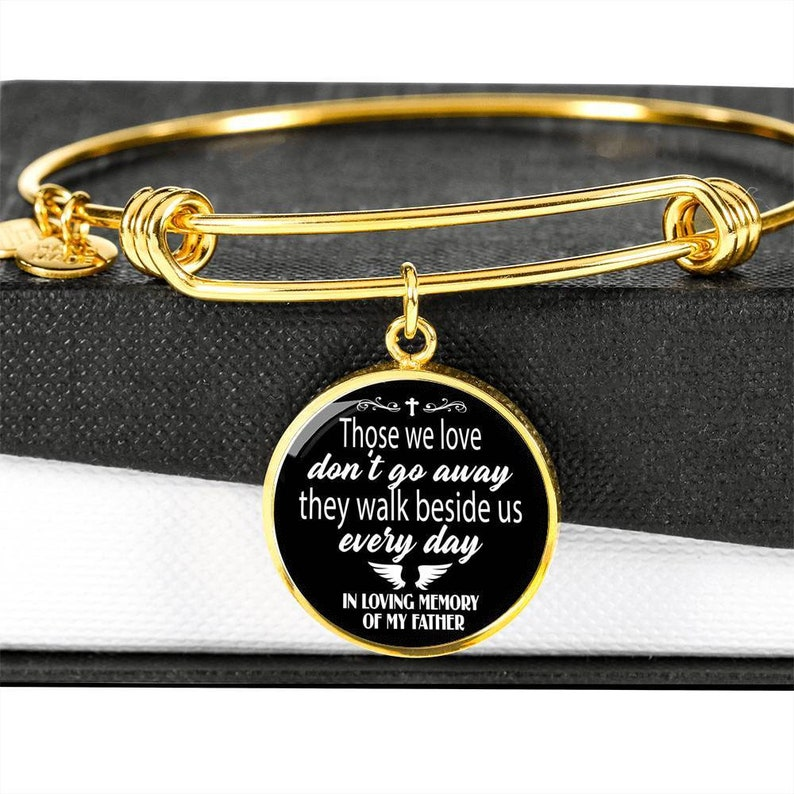 Father Loss Gift Dad Memorial Bracelet Sympathy Gift Mourning Jewelry Custom Engraving Available In Memory of Father