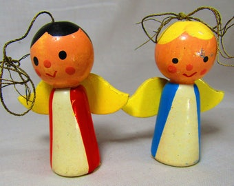 Set of 2 Vintage Wooden Angel Christmas Ornaments - Red and Blue