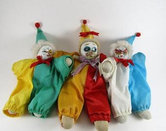 3 Clowns, Soft Bodies with Porcelain Faces