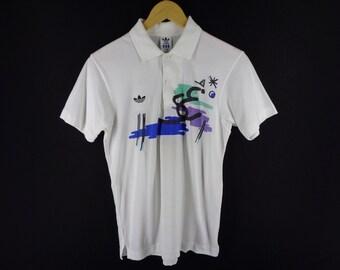 6f214d58d4 ADIDAS Polo Tennis Shirt Vintage 90 s Adidas Tennis STEFAN EDBERG Sportwear  Adidas Tennis White Men s Size M